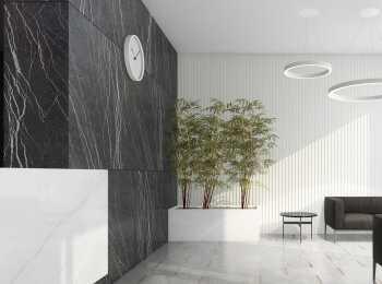 Дизайн холла выполнен в лучших традициях ар-деко